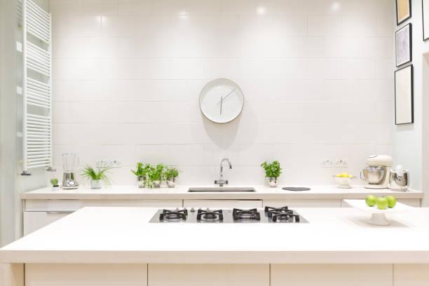 Ilot central avec plaques de cuisson vue de face dans une cuisine moderne